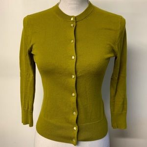 J Crew Chartreuse Green Faux Pearl Button Cardigan